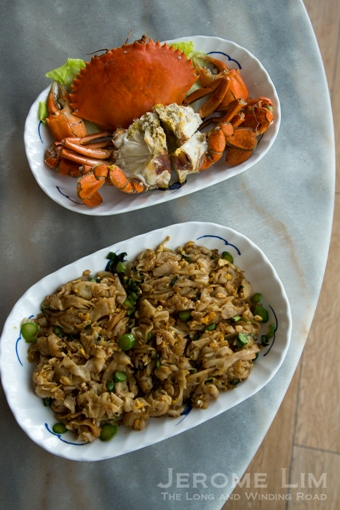 Cold crab and chye poh kway teow.