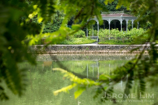 The cast iron Victorian Swan Lake Gazebo, previously of Old Admiralty House at Grange Road.