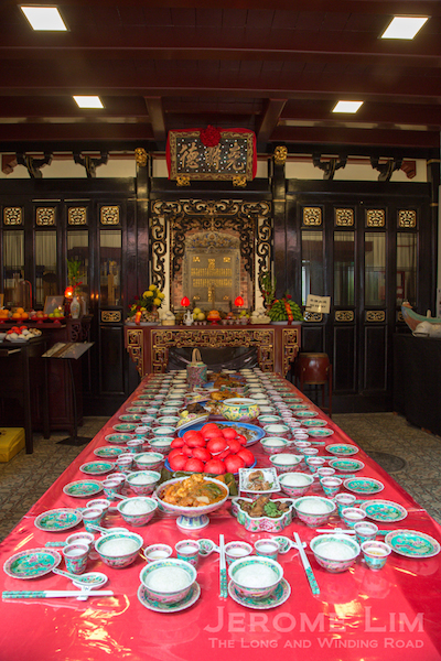 The ancestral hall where a tablet bearing the names of 35 of the 36 founders - one was apparently ejected. 36 places are however set at the table where food offerings to the ancestors are laid out during the sembayang abu or ancestral prayer sessions - a practice that is now continued by the Taoist. Mission
