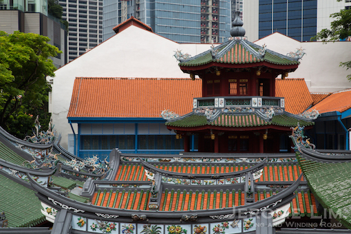 A second pagoda - Thian Hock Keng's Chong Wen pagoda, seen across the roofs of the Hokkien temple from the Keng Teck Way's pagoda.