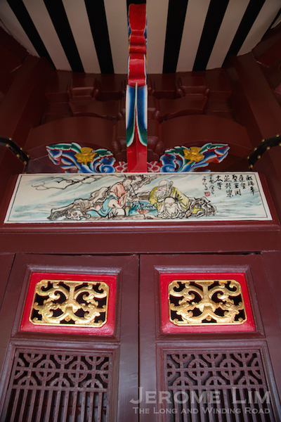 Doors, frescos and architectural details of the pagoda, beautifully restored.