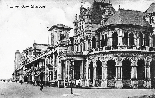 Collyer Quay in the late 19th century. The first HongKong and Shanghai Bank chambers can be seen at the near end.