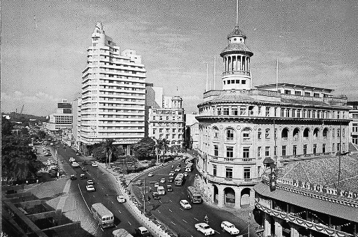 The waterfront in the 1960s. By this time, taller buildings such as the Asia Insurance Building, had already begun to transform the skyline.