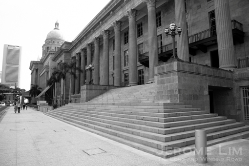 The steps of City Hall today, now a wing of the soon-to-be-opened National Art Gallery Singapore.