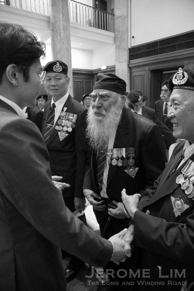 MAJ (Retired) Ishwar Lall Singh greeting Minister Lawrence Wong, the Guest of Honour.