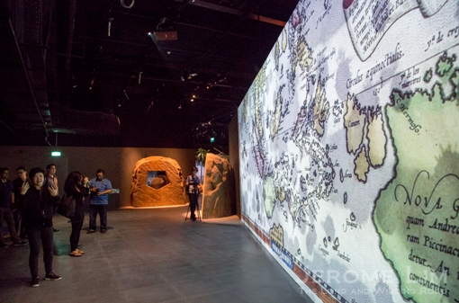 Abraham Ortelius' 1570 map of the East Indies and a storm greets visitors to the new Singapore History Gallery.