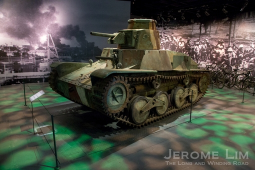 A replica of a Type 95 Ha Go Japanese tank, one of 4 constructed for Tom Hanks and Steven Spielberg's television mini-series, The Pacific (2010).