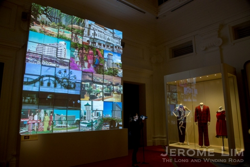 Familiar landmarks in the Pursuit of Leisure TV Wall Projection in the Voices of Singapore gallery.