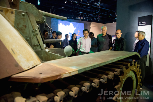 ESM Goh and Minister Lawrence Wong coming face to face with a replica of a Japanese Type 95 Ha-Go light tank in the revamped Singapore History Gallery.