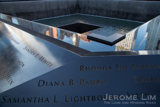 One of two reflecting pools each positioned where the North and South Tower once stood as part of the National September 11 Memorial.