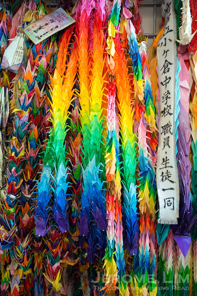 A thousand origami paper cranes folded by school children in Japan. The cranes relate to the story of Sadako Sasaki and the 1000 origami paper cranes.