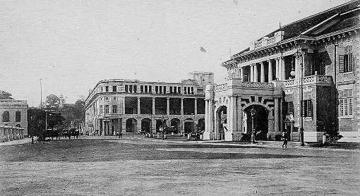 Princess Square - looking up High Street towards Fort Cannin Light. The Singapore Cricket Club is on the right and the Hotel de L'Europe stands where the old Supreme Court (now part of the National Gallery) now stands.