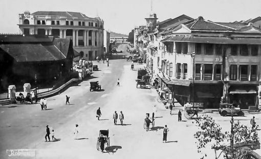 Robinson Road. Part of Telok Ayer market can be seen on the left.