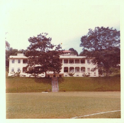 Changi Chalet Hospital at Turnhouse Road seen in the mid 1970s (since demolished). The field in the foreground is the former RAF Changi's Padang Sports Field and is where the former SIA Group Sports Club was built in the 1980s (photograph: Edmund Arozoo on On a Little Street in Singapore).
