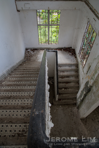 The staircase down from the second level of Block 37.