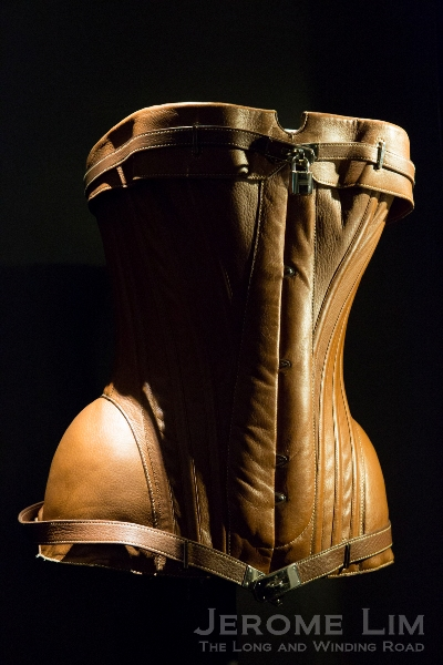 A saddle leather bustier designed Jean Paul Gaultier for Hermès (notice the Kelly inspired straps).