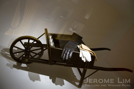 A gift commissioned by the Duke of Windsor for Wallis Simpson, a leather wheelbarrow, inspired by his observation that the duchess already had