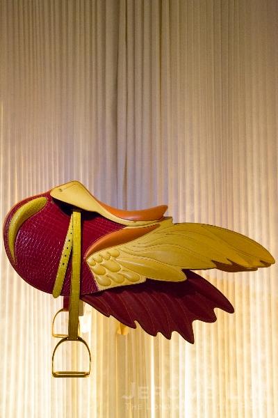 A winged saddle made at Hermès Sellerie workshop.