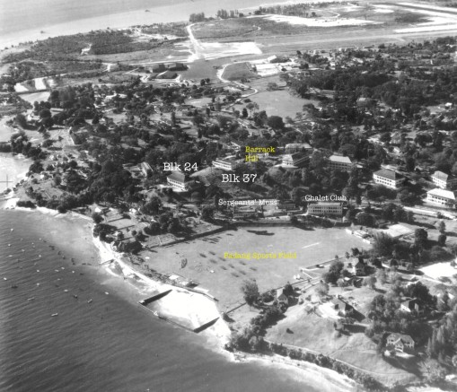 RAF Changi 1950. The relative positions of the original Blks 24 and 37 of RAF Hospital Changi and the Chalet Club can be seen (lkinlin18 on Flickr).