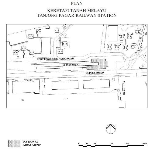 An extract of the May 2011 gazette showing the part of the former Tanjong Pagar Railway Station designated as a National Monument.