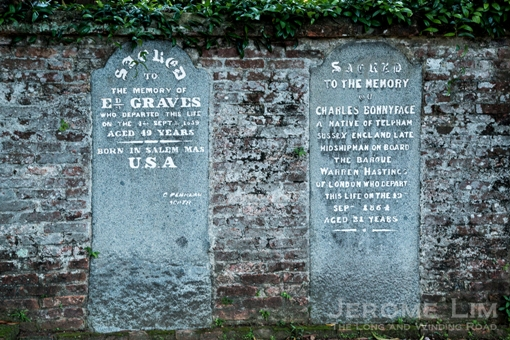 The memorial tablets embedded in the walls tell us of many who came from far and wide in the early decades of British Singapore.