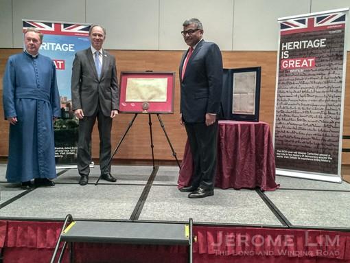 The presentation of the replica of the 1215 British Museum Magna Carta.