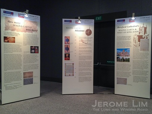 Information presented at the exhibition includes that on the Magna Carta, the Hereford Cathedral's copy and the Cathedral itself.