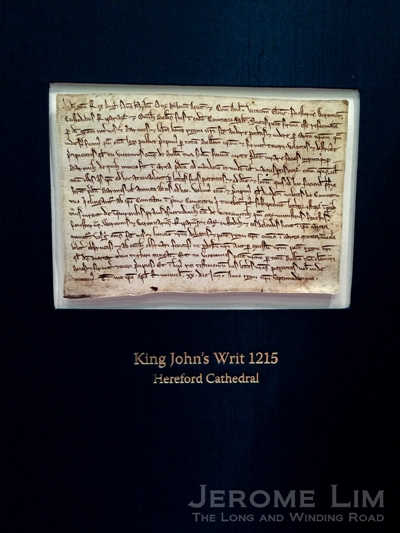 A replica of the Hereford Cathedral's 1215 Wirt of King John - the actual copy, is the only one that has survived and is also on display at the exhibition