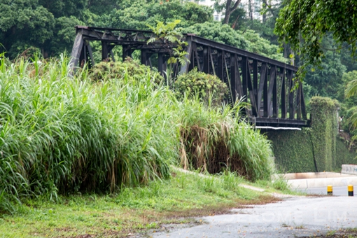 The now silent truss bridge, a long-time landmark along Upper Bukit Timah Road.