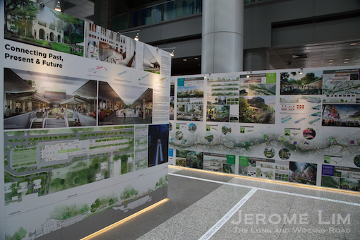 Panels showing proposals for Tanjong Pagar Railway Station and the Lines of Life.