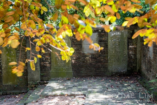 Gravestones embedded into the walls.