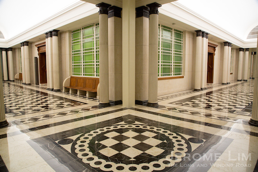 Corridors of the former Supreme Court - the original rubber tiles, which contained asbestos, had to be replaced.