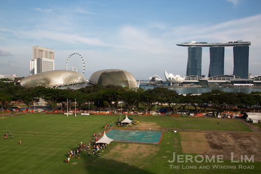 The view of the Padang, the Esplanade and Marina Bay Sands from the roof terrace.