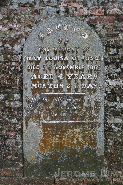 The memorial tablet for Emily Louisa Ottoson, the four year old daughter of John Matthew Ottoson a.k.a. Otokichi. A resident of Japanese origin, Otokichi had a very eventful life out of Japan that started with him being lost at sea fro 14 months (see: https://thelongnwindingroad.wordpress.com/2012/12/18/voices-from-a-forgotten-past/).