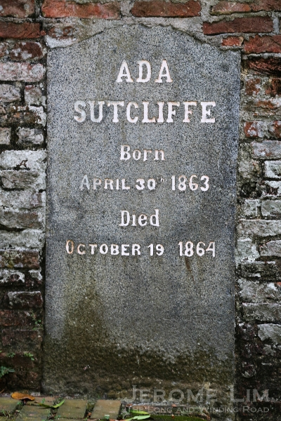 Possibly one of the last burials to have taken place, that of young Ada Sutcliffe (year of death incorrectly recorded in the JSBRAS paper as 1865).