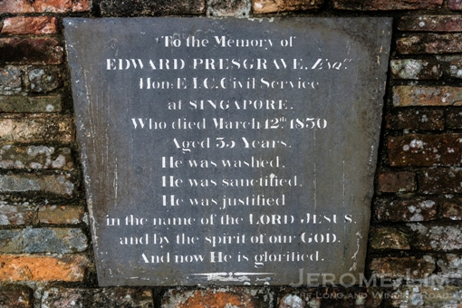 A tablet from the grave of Edward Presgrave, a civil servant who passed away at the age of 35.