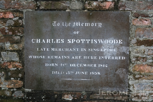 From the grave of Charles Spottiswoode, a merchant after whom Spottiswoode Park is named.