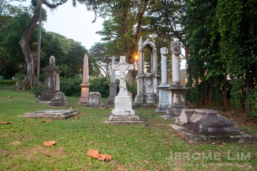 Gravestones moved from the 'New Cemetery' at the northeastern corner of Fort Canning Green.
