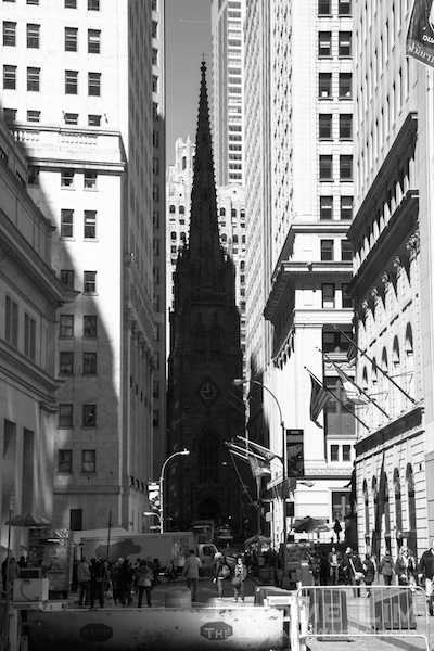 Trinity Church as viewed from Wall Street.