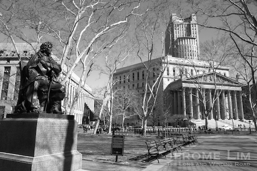 Thomas Paine Park and the New York County Supreme Court.