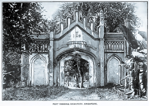 One of the two gothic gates that serve as the entrances to the old Christian cemetery at Fort Canning (source: JSBRAS paper). The gates are still standing.