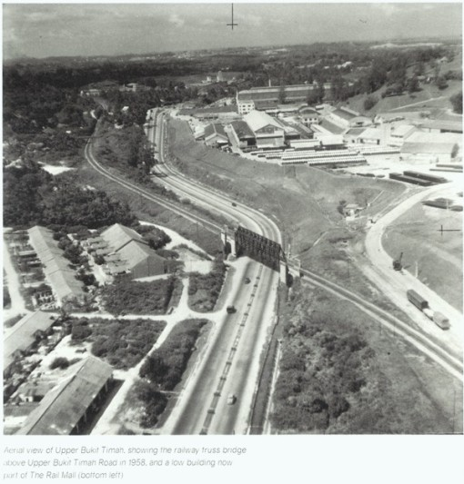A scan from Faces of Fuyong with an aerial view over the estate in 1958. The photograph also shows the railway line, the truss bridge, and Hume Industries and the Ford Factory on the high ground across the road.