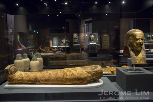 Mummy of an adolescent boy. Hawara, Egypt Roman period, AD 100–120 Human tissue, linen, gold, wax.