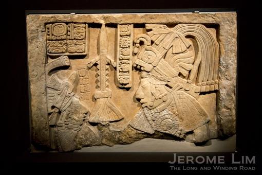 Lintel showing a Maya ruler. Yaxchilán, Mexico. Maya, AD 600–900. Limestone.