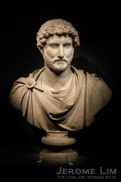 Bust of Emperor Hadrian. From Tivoli, Italy. Around AD 125–130. Marble.