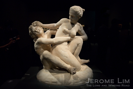 Early erotica perhaps. Marble group of a nymph escaping from a satyr. Tivoli, Italy. 2nd century AD. Marble.