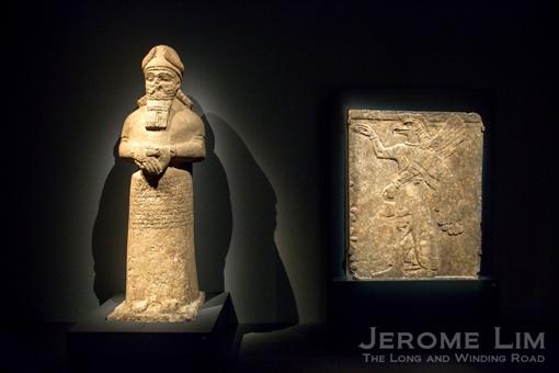 (L) A divine attendant Nimrud, northern Iraq. Neo-Assyrian, 810–800 BC. Limestone. (R) Relief showing a protective spirit. North-West Palace, Nimrud, northern Iraq. Neo-Assyrian, around 875–860 BC. Gypsum.