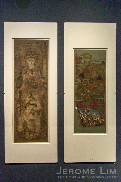(L) Painting of the bodhisattva Samantabhadra. Tang dynasty, around AD 750–850. Ink and colours on silk. (R) Painting of Lokapala Virūpākṣa, Guardian of the West. Tang dynasty, around AD 850–900. Ink and colours on silk.