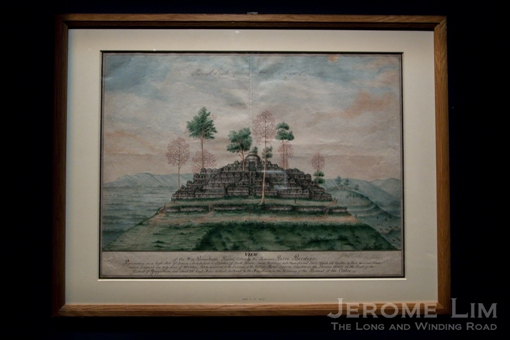 Sir Thomas Stamford Raffles collection. General view of the temple at Borobudur. Around AD 1814. Watercolour on paper.