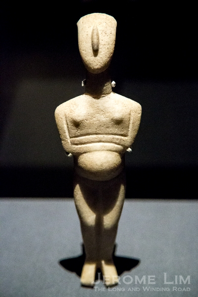 Figure of a pregnant woman. Cyclades, Greece. Early Bronze Age, 2600–2400 BC. Marble.